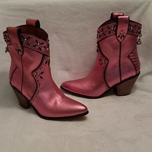 Pink Coach Western Style Ankle Boots
